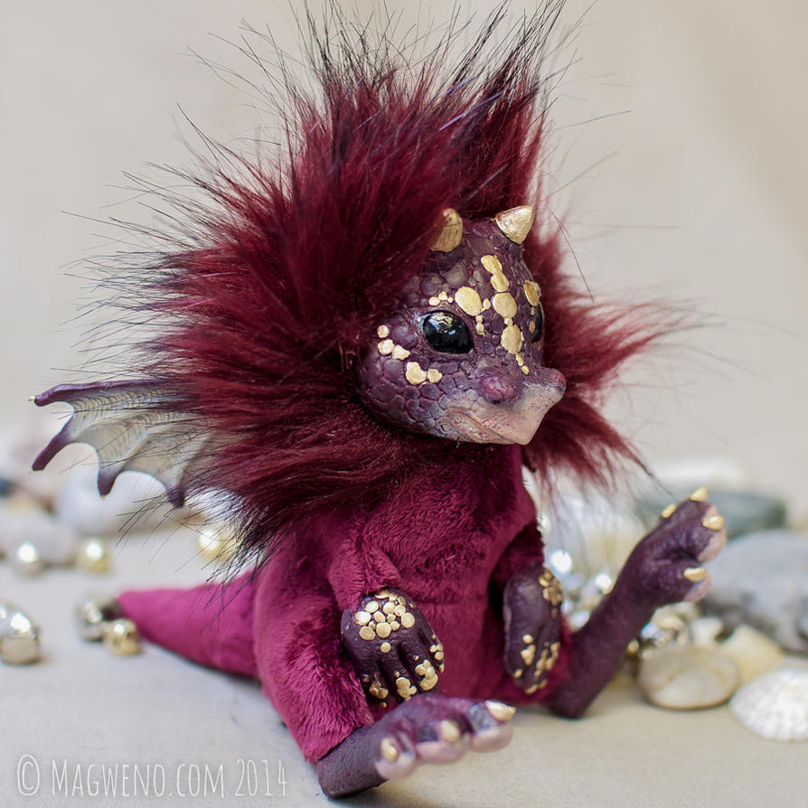 Medoc the burgundy dragon pup by Magweno