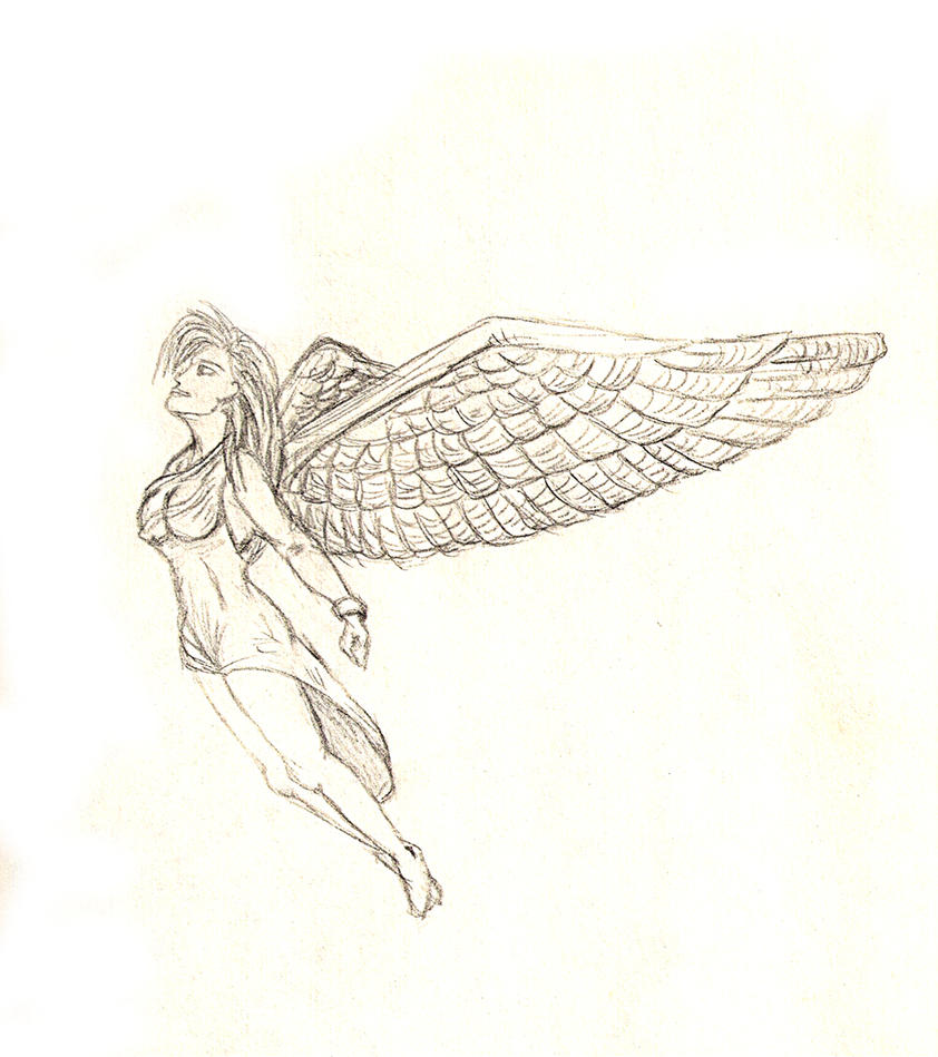 angels flying to heaven drawing
