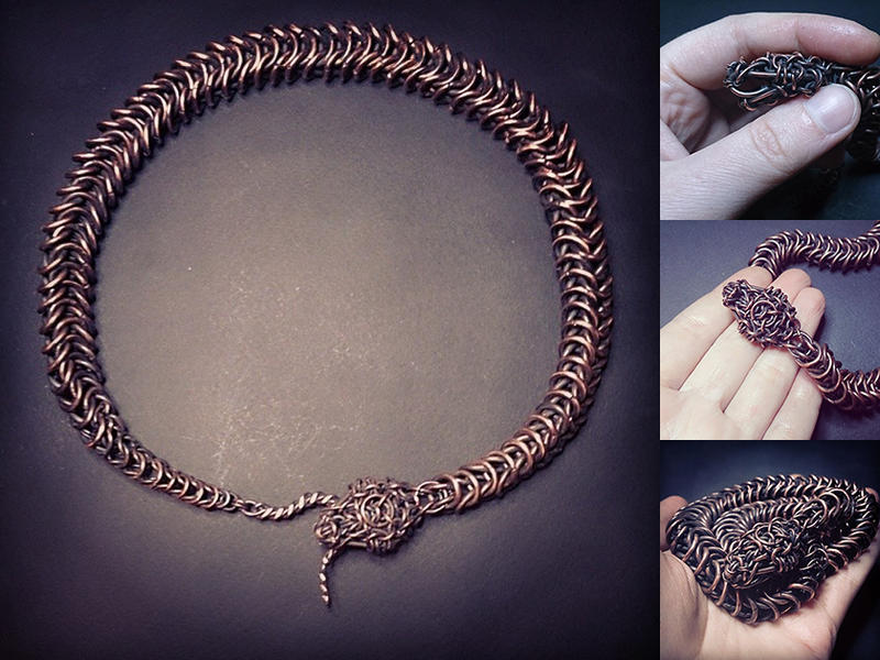 Copper chainmail snake by omegaptera