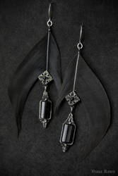 Three shades of black earrings by omegaptera