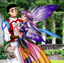 Ayeka and Tenchi in a garden by fedex32