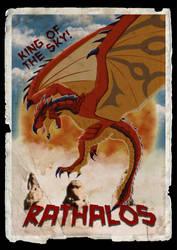 Rathalos in vintage monster movie poster by DragonoidKaiju