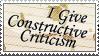 I Give Constructive Criticism