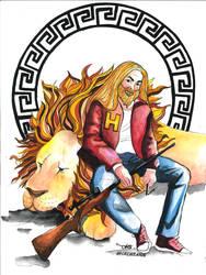 Hercules and Nemean Lion by grecioslaw