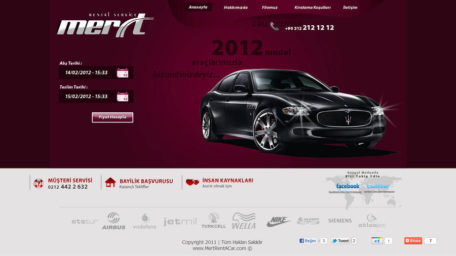 Mert Rent a Car Web Interface By Zarif Balci by zarifbalci
