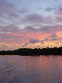 Dawn on a boat
