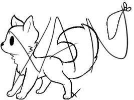Chibi Pup Line art + bandana by XanderGirl96