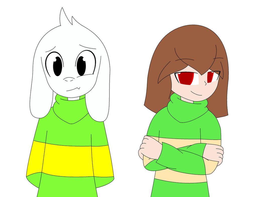 Asriel and Chara Doodle by xXkerrysweetXx