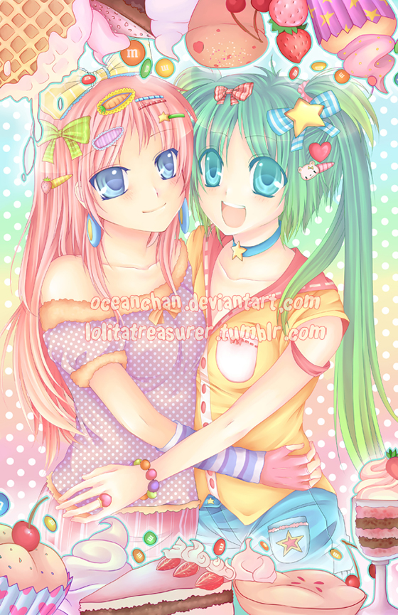 Miku and Luka Sweet Land by oceantann