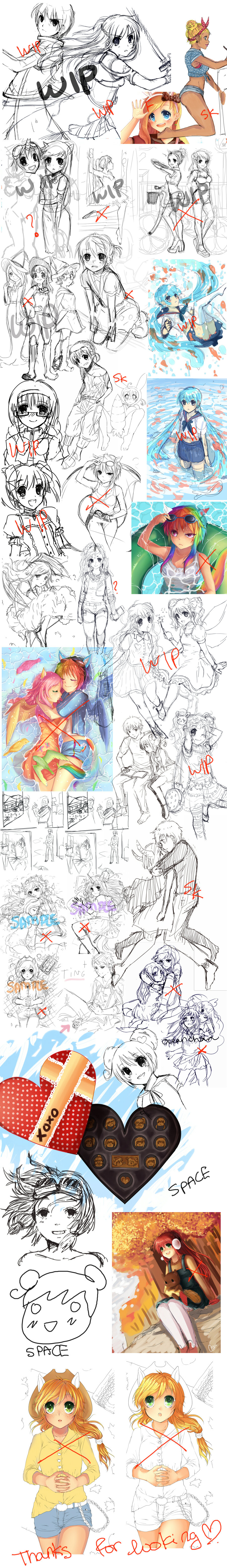 Sketch Dump 009 (WIPs and abandoned works) by oceantann