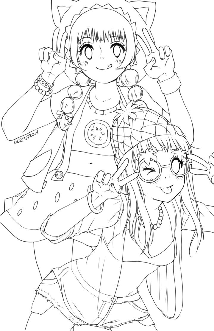 Yamio Lineart : Watermelon and pineapple girls lineart by oceantann on
