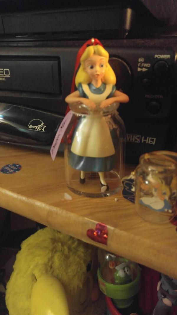 Alice in drink me bottle ornament by pookiesaurus4