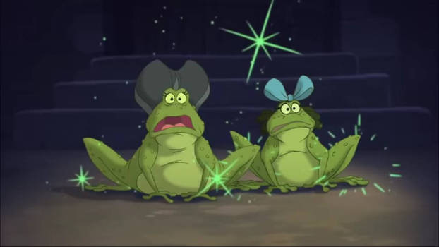 Screenshot of Lady and Drizella Tremaine as toads.