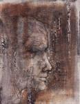 Face Study 2  on Cardboard