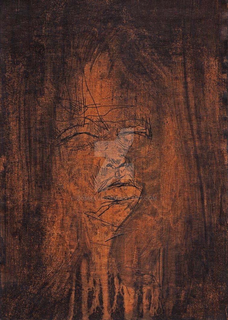 Face Study 3 on cardboard by ZombAug