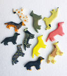 Ceramic Dachshund Magnets and Pins! by Rollingdesigns