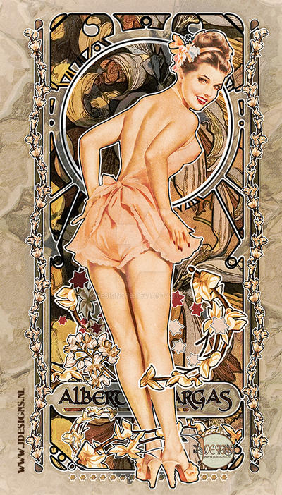 Alberto Vargas Tribute Art Nouveau Pin up by jdesigns79