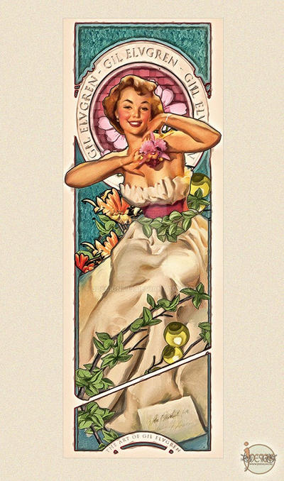 Gil Elvgren Tribute Art Nouveau Sexy Pin up by jdesigns79