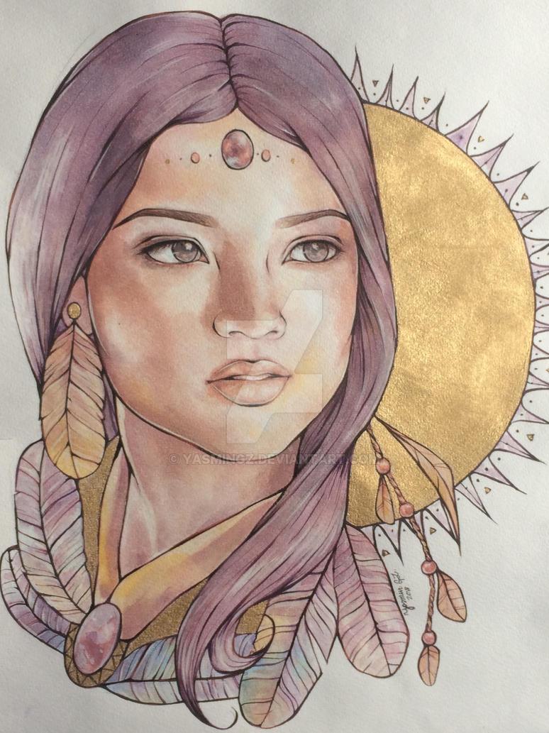 Native american girl by YasminGZ