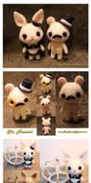 Sir Mouse and Miss Bunny ~ Custom Made Felt Dolls by TheHeartofJapan