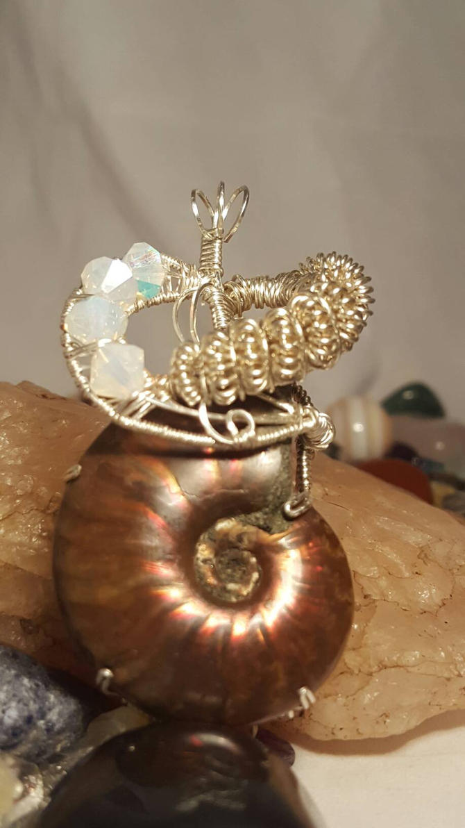 Sterling Silver Prong Setting  Opal ammonite  by Wolf-Lady-bsparks85