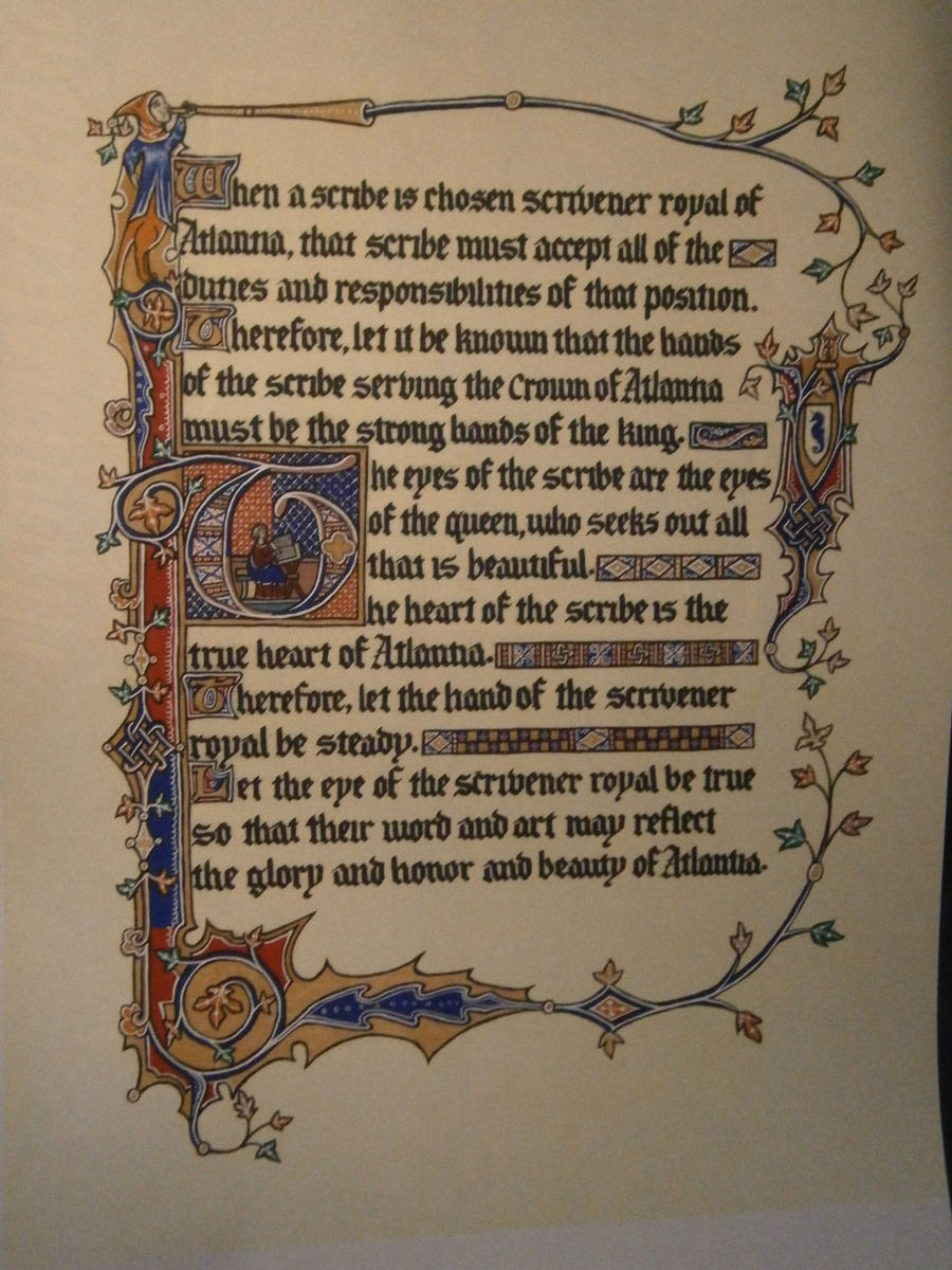 Royal Scrivener Scroll, Spring Coronation '12 by Merwenna