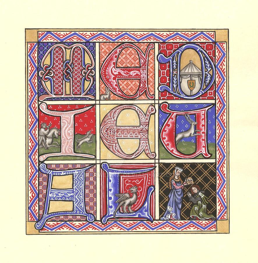 Medieval Quilt-Style Miniature by Merwenna