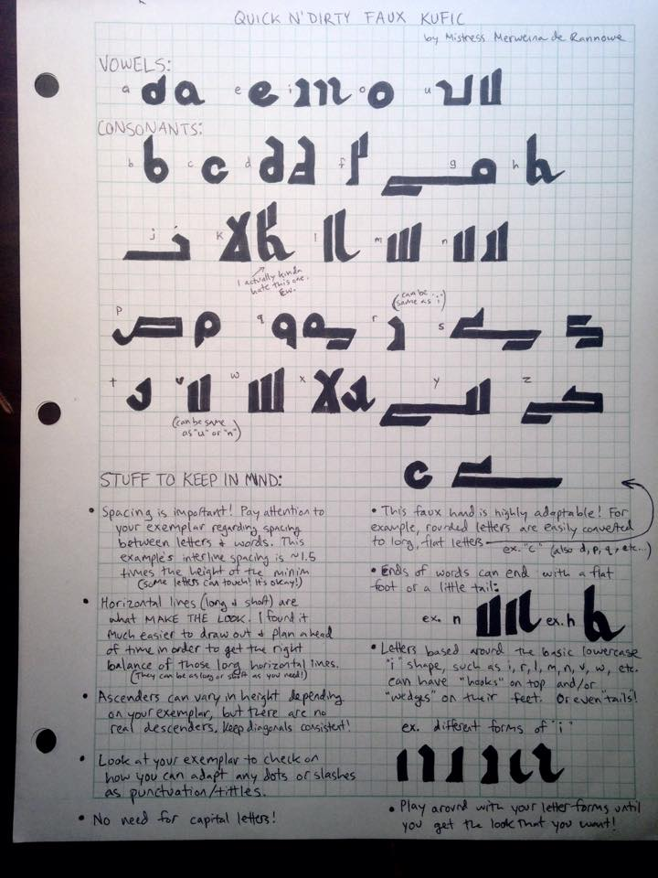 Quick n' Dirty Faux Kufic Tips by Merwenna