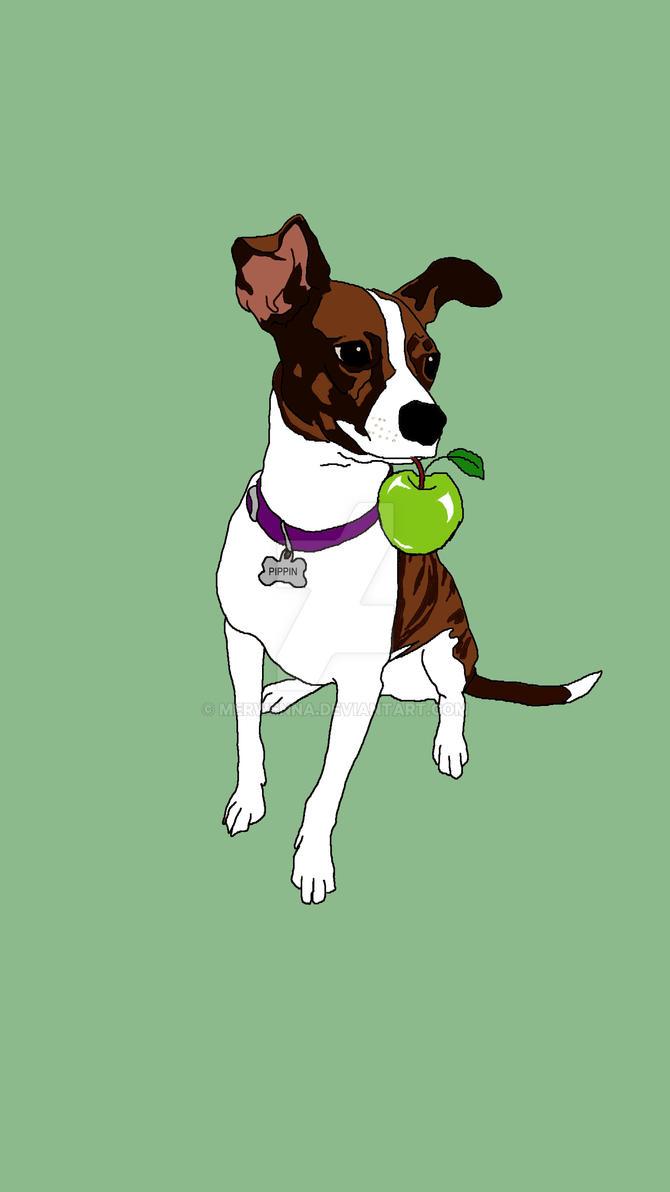 Puppy and Apple by Merwenna