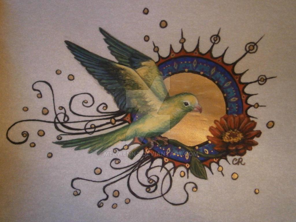 Art Nouveau Parakeet by Merwenna