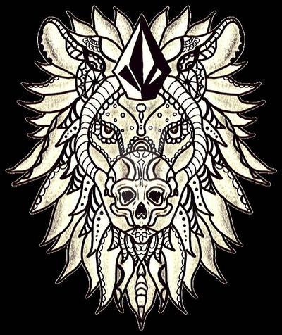 Gold Skulled Stone Lion  by Dettejean3