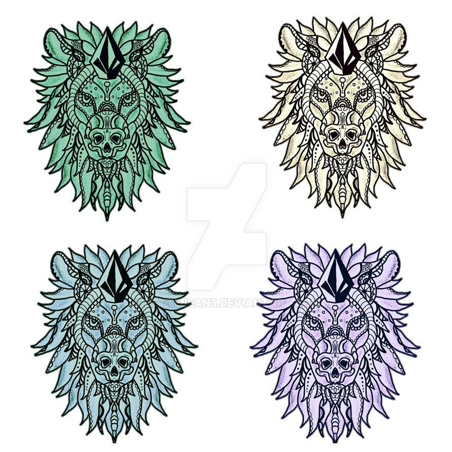 Hues of Skulled Stone Lion  by Dettejean3