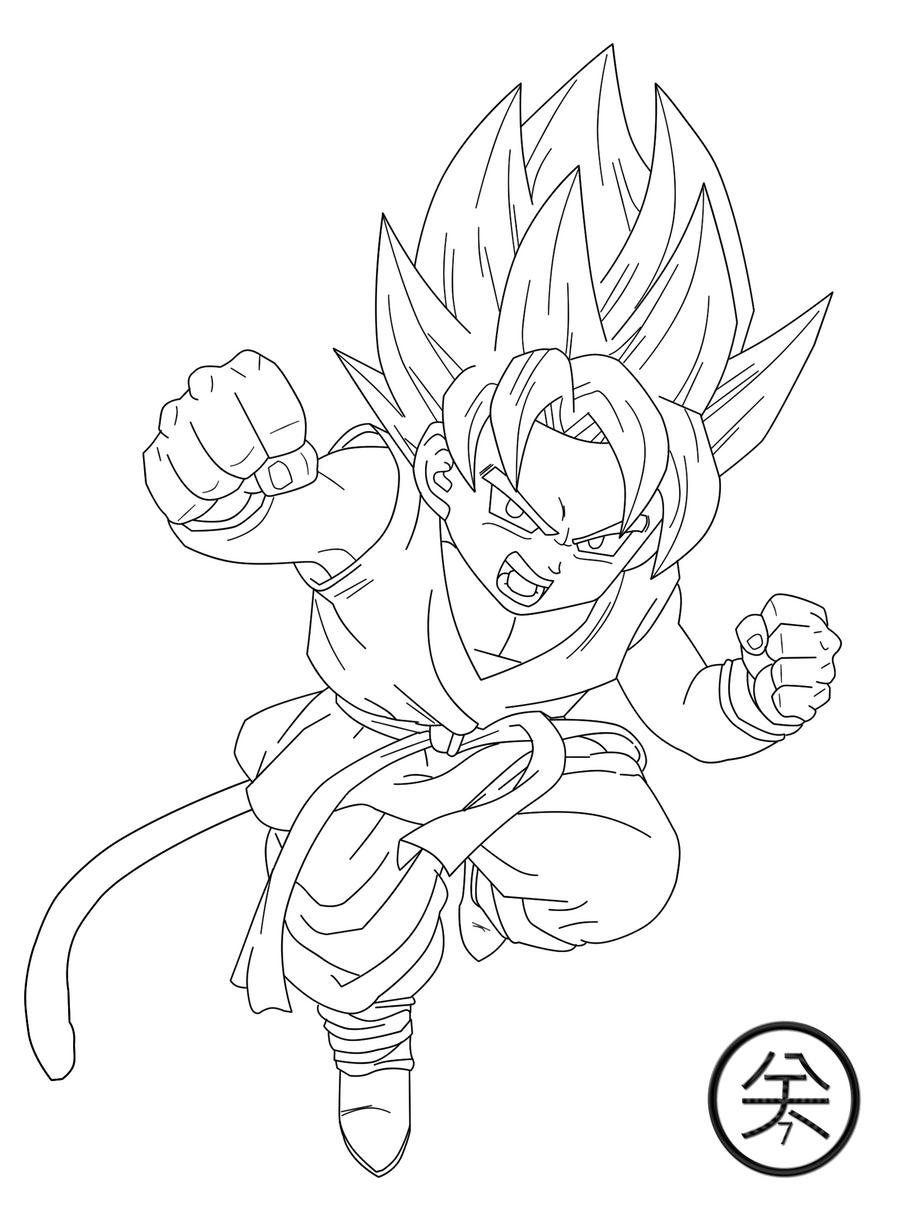 Kid Goku GT SSJ Lineart By JP7 Jeanpaul007