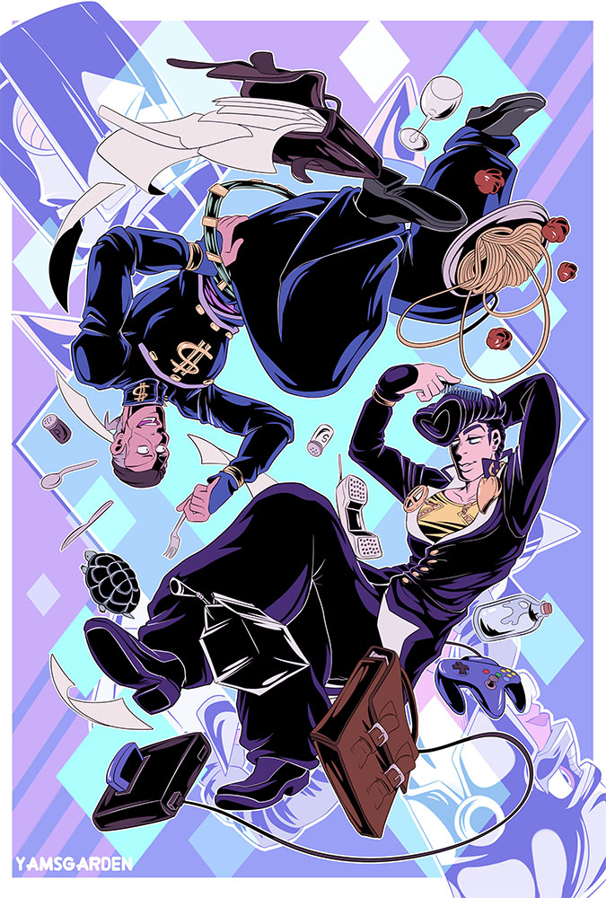 Josuke and Okuyasu - Upside Down by YAMsgarden
