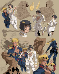 Jojo - Vento Aureo - Giorno and Bruno - Doodles 01 by YAMsgarden