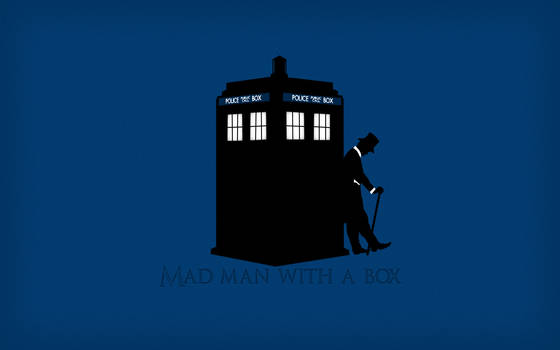 Mad man with a box silhouette