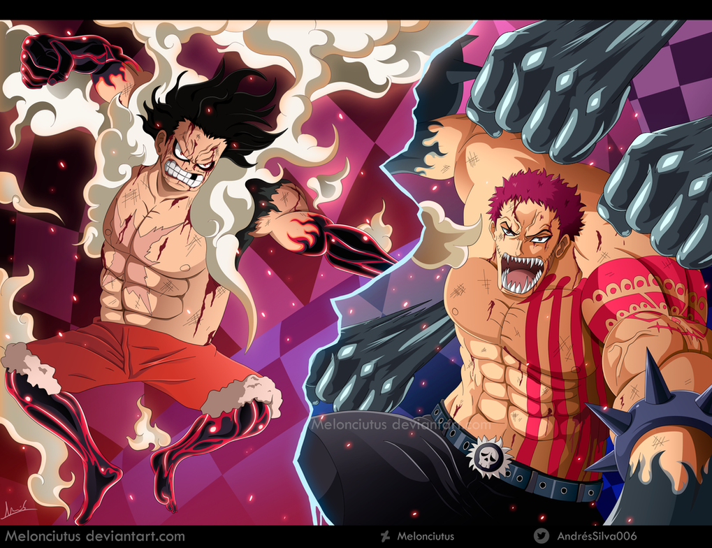 Monkey D. Luffy vs Charlotte Katakuri by Melonciutus