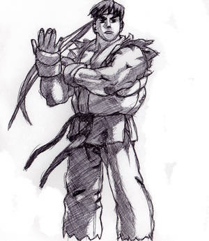 Ryu Drawing, Cross-Hatched