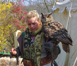 Falconer with Owl by spectacledfruitbat
