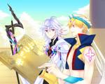 fate grand order Merlin and caster gilgamesh