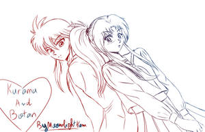 kurama and botan by Moonlight-k