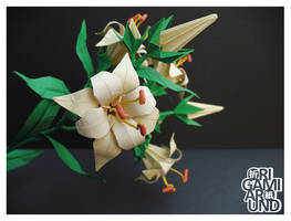 Origami lily with black background by OrigamiAround