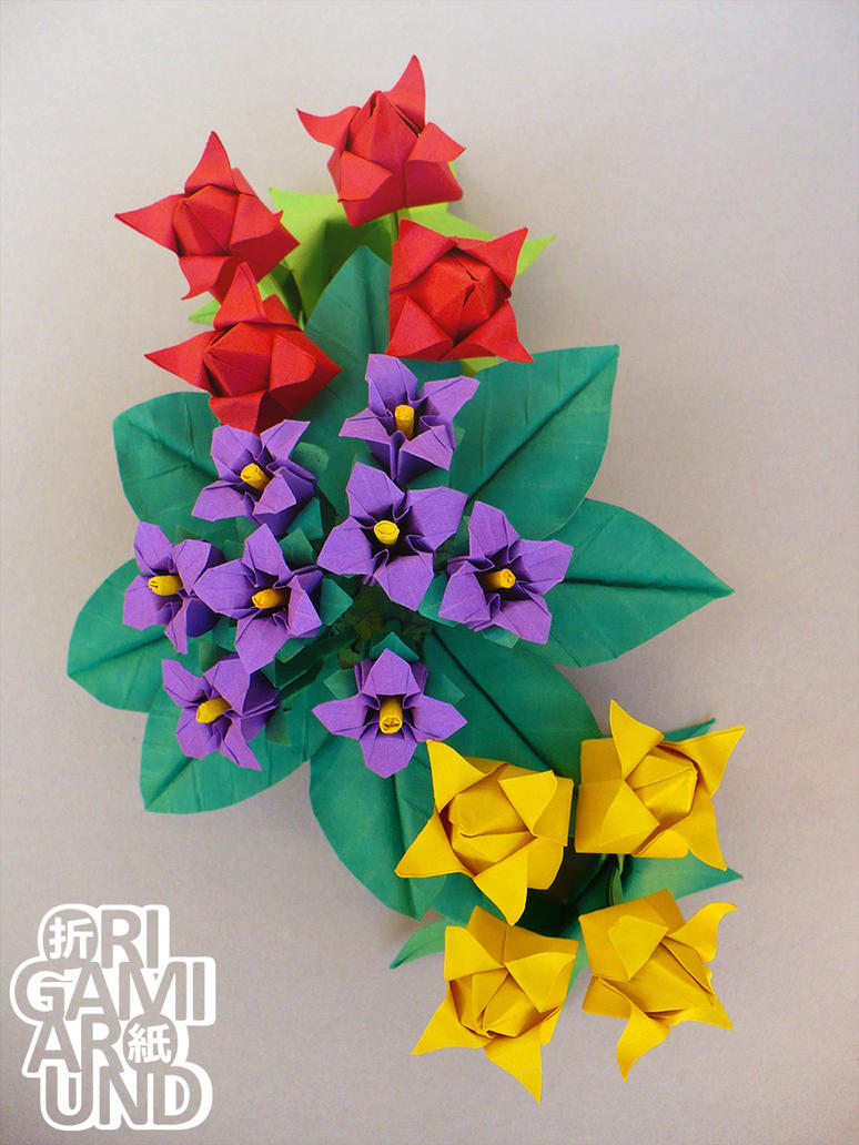 Origami flower arrangement tulips and violet by origamiaround on origami flower arrangement tulips and violet by origamiaround jeuxipadfo Image collections