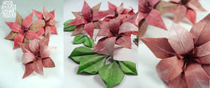 Painted origami lilies and leaves