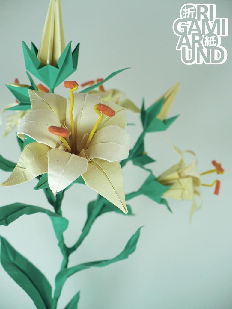 White origami lily by origamiaround on deviantart white origami lily by origamiaround izmirmasajfo