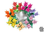 Origami tulip bushes in many color variations