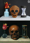 Still life painting recreated from origami