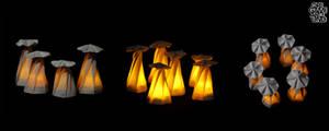 Origami mushroom lanters montage 003 by OrigamiAround