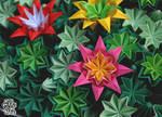Origami venus kusudama cactus flowers 002