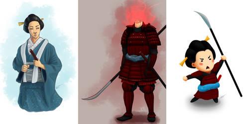 Character variations - Onna bugeisha